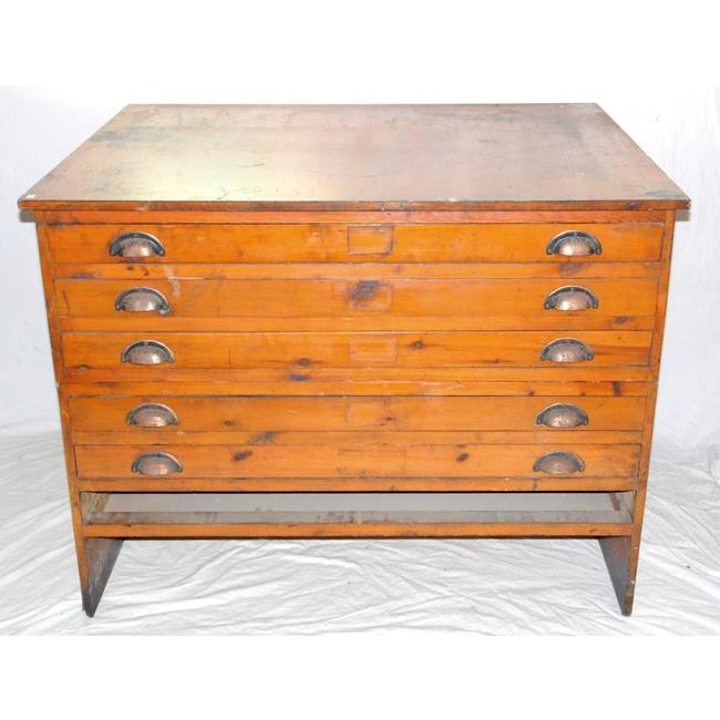 Vintage Architects Plan Chest of 5 Drawers