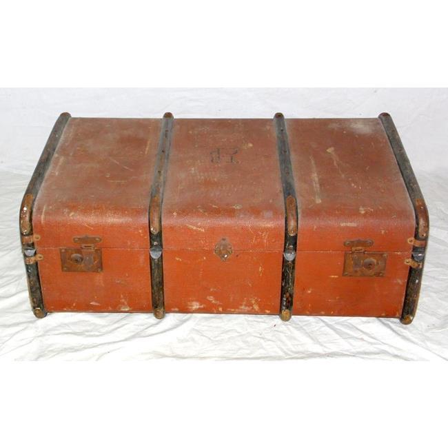 Vintage Ribbed Storage Trunk. 20thc.