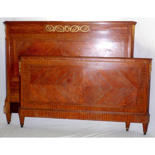 Antique French Walnut & Ormolu Large Double Bed