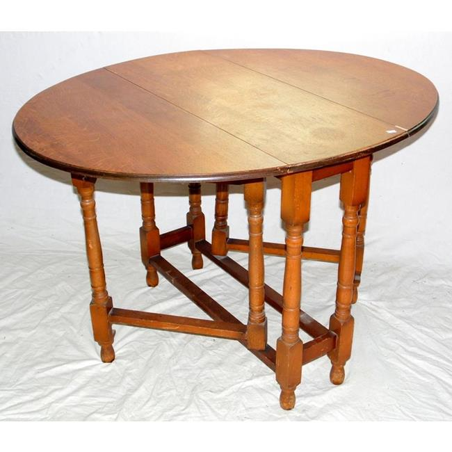 1920s Oval Solid Oak Drop Leaf Table