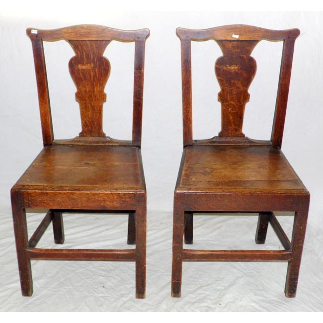 A Pair of Georgian Country Oak Hall Chairs.18thc.