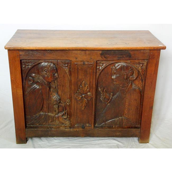 Antique Continental Carved Oak Coffer