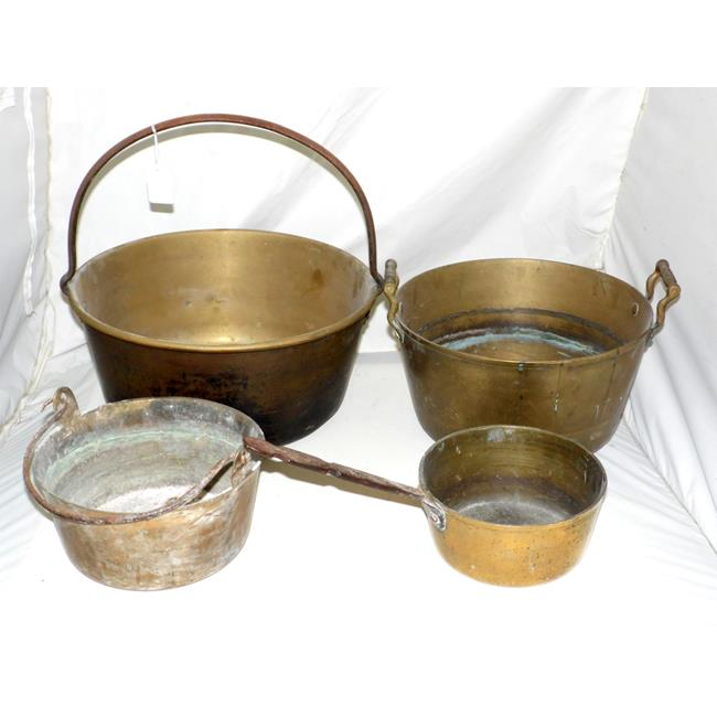Antique Brass / Steel Jam Pans and a Cooking Pot.