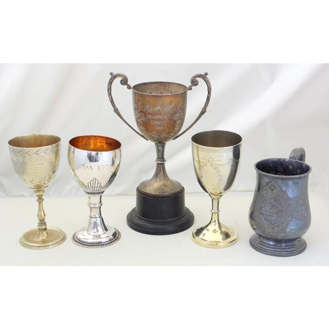 Antique Silver Plate Trophies & 1777 Goblet.