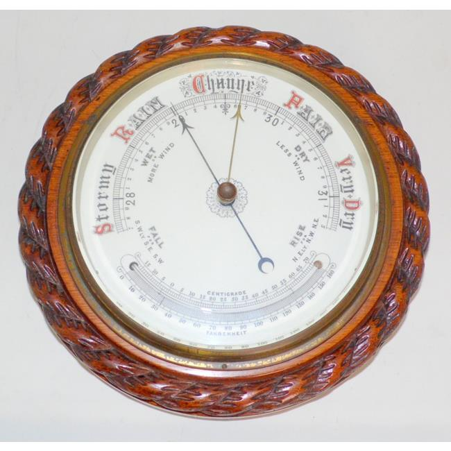 Fine Large Victorian Oak Aneroid Barometer. 19thc