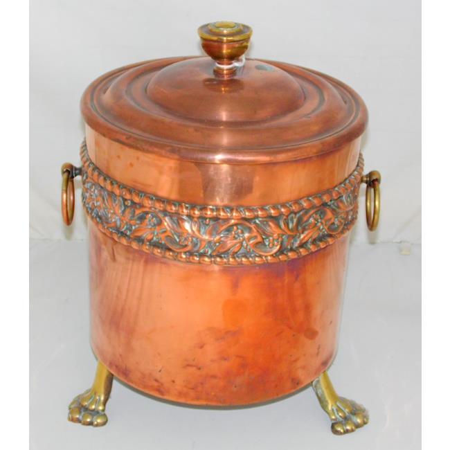 Antique Regency Style Copper and Brass Coal Bin