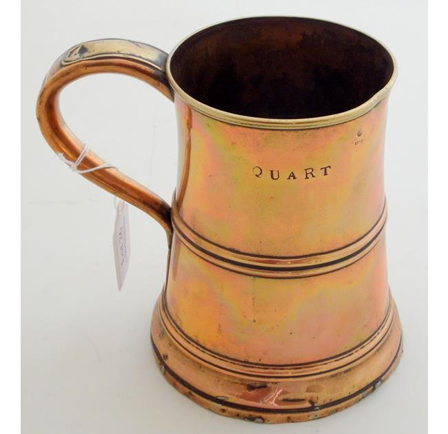 A Georgian Quart Copper Tankard,.Early 1800s.