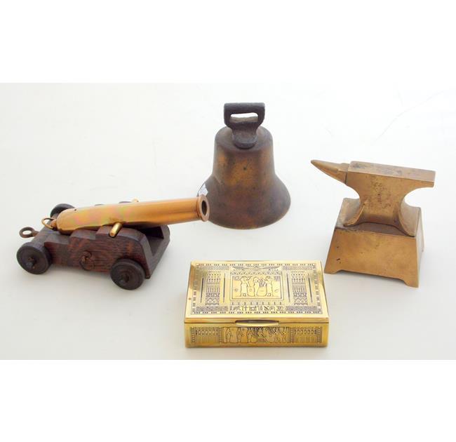 Antique Bronze Bell. Vintage Bronze Cannon Etc,
