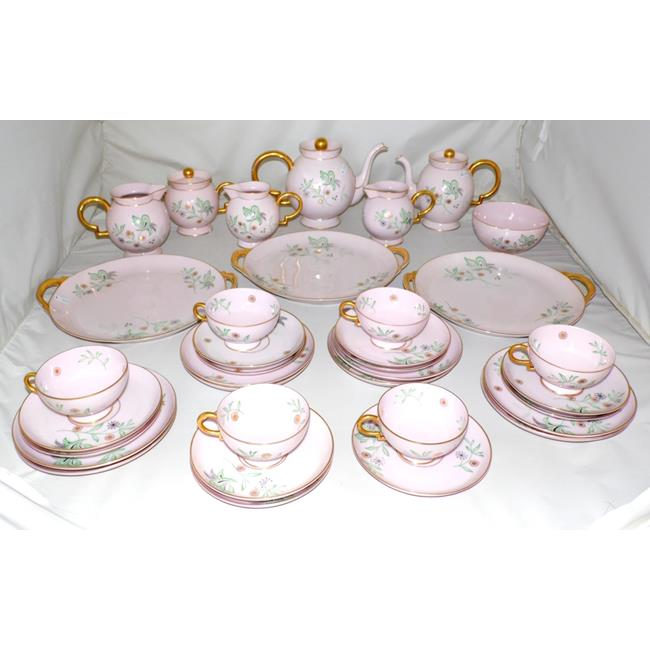 Johann Haviland Bavaria Pink Ground  Tea Set