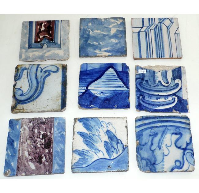 Antique Dutch Delft Ornamental Wall Tiles 18thc