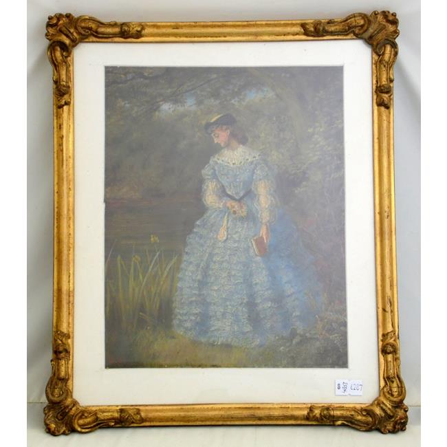 19th/20th Century Crinoline Lady Oil on Board