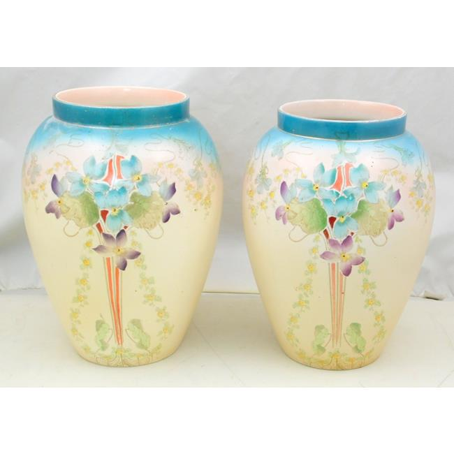 A Pair of Large Antique Art Nouveau Vases