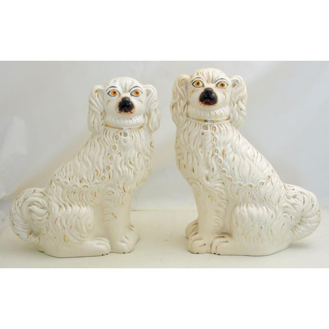 Antique Pair of Staffordshire Spaniels. 19thc