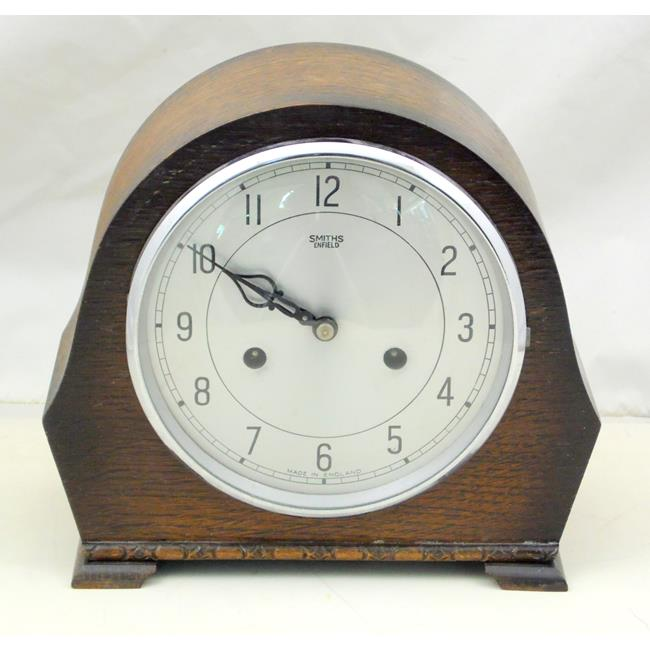 Smiths Enfield 8 Day Oak Mantle Clock.