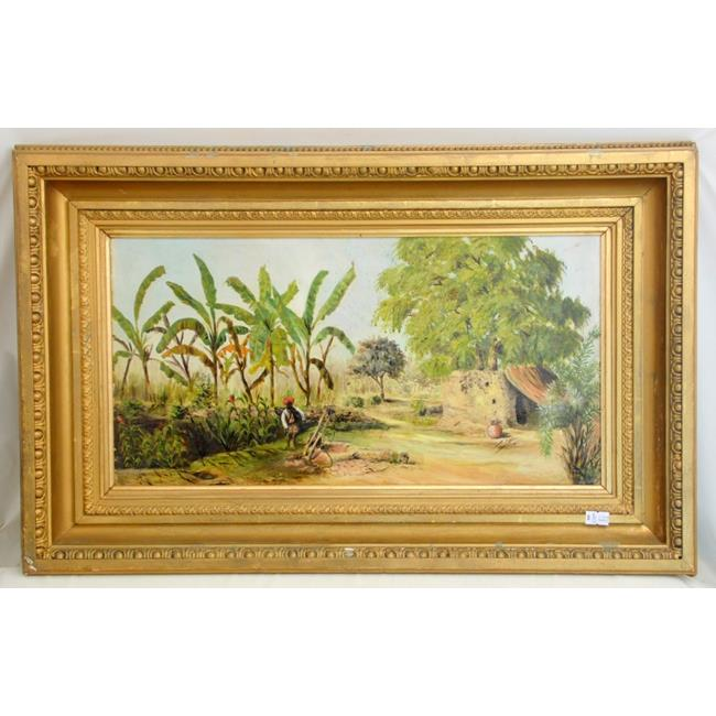 Victorian Oil on Board 'Our Garden at Lucknow'.