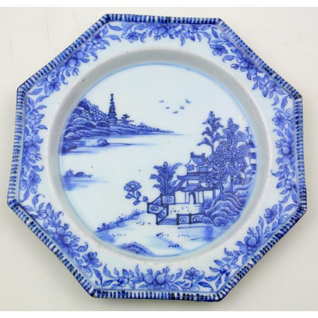 18thc Chinese Qianlong Blue & White Octagonal Dish