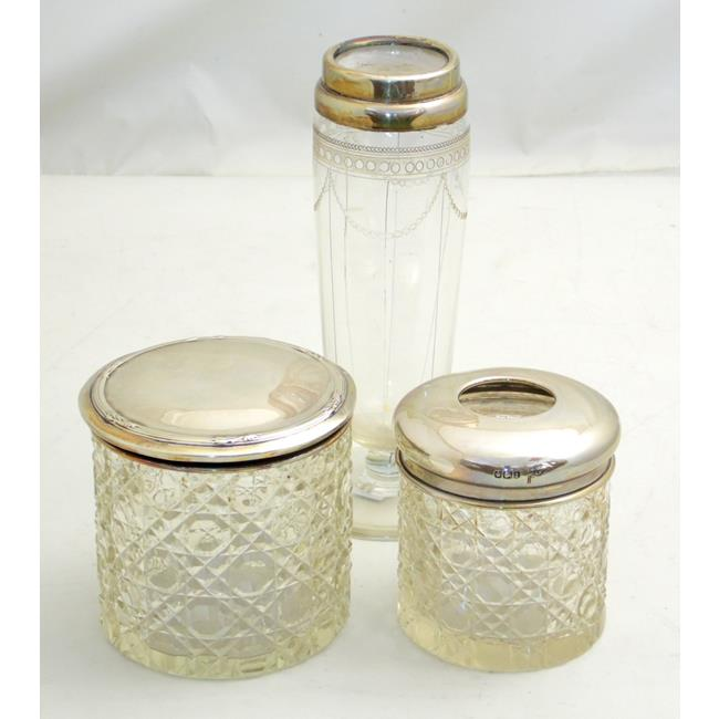 Antique Sterling Silver Mounted Jars