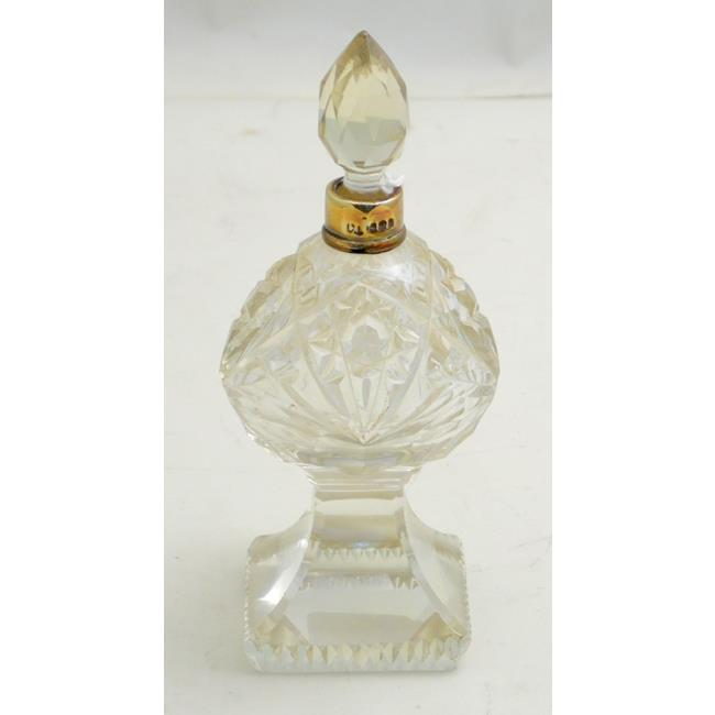 Sterling Silver Mounted Cut Crystal Perfume Bottle