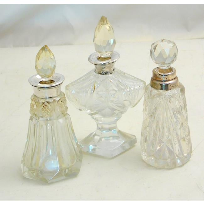 Sterling Silver Mounted  Crystal Perfume Bottles