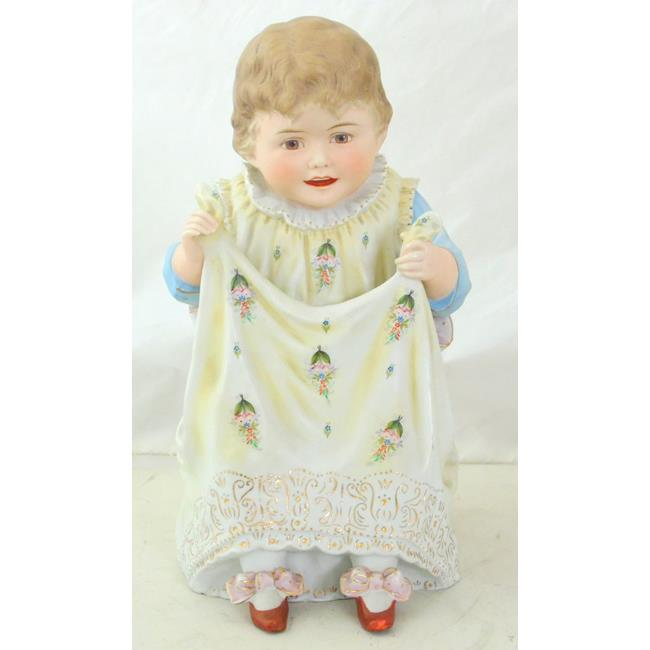 Large German Bisque Seated Piano Baby Girl.c1900