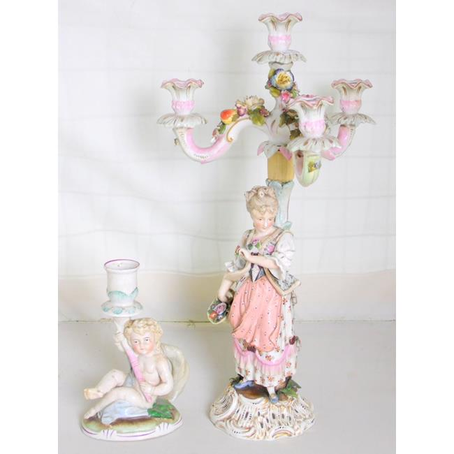 Continental Porcelain Figural Candelabra 19thc
