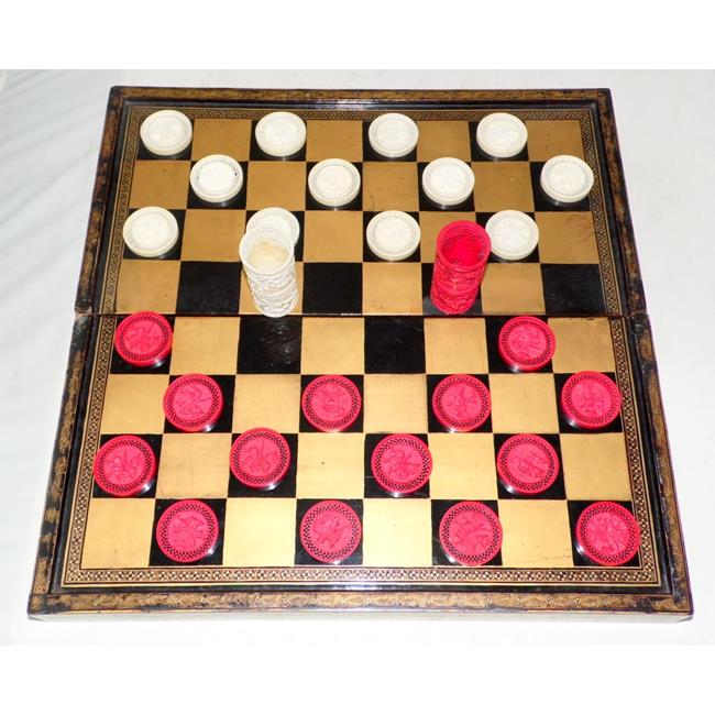 A Fine Chinese Lacquer Folding Draughts Board