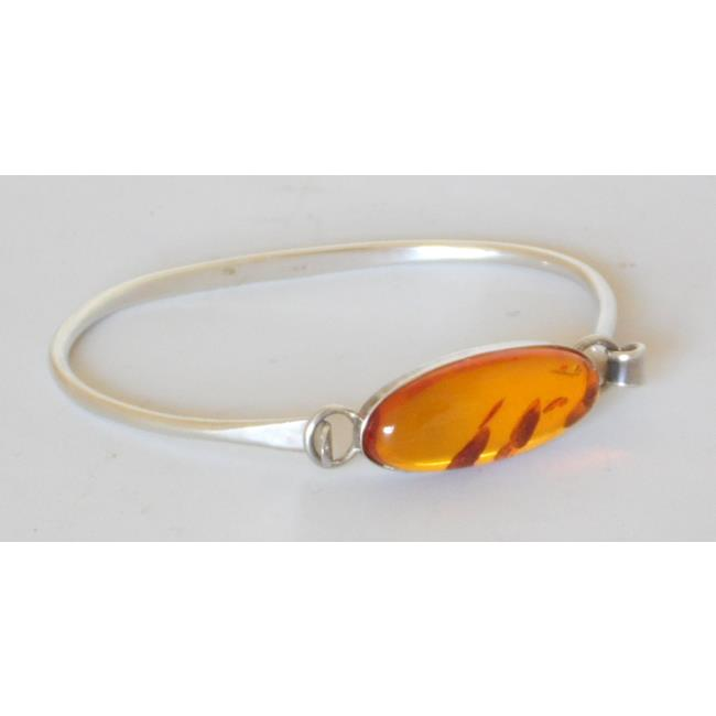 Sterling Silver Bangle Mounted with Amber