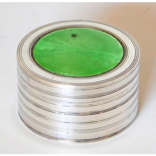 Edwardian Sterling Silver Green Enamel Box 1907