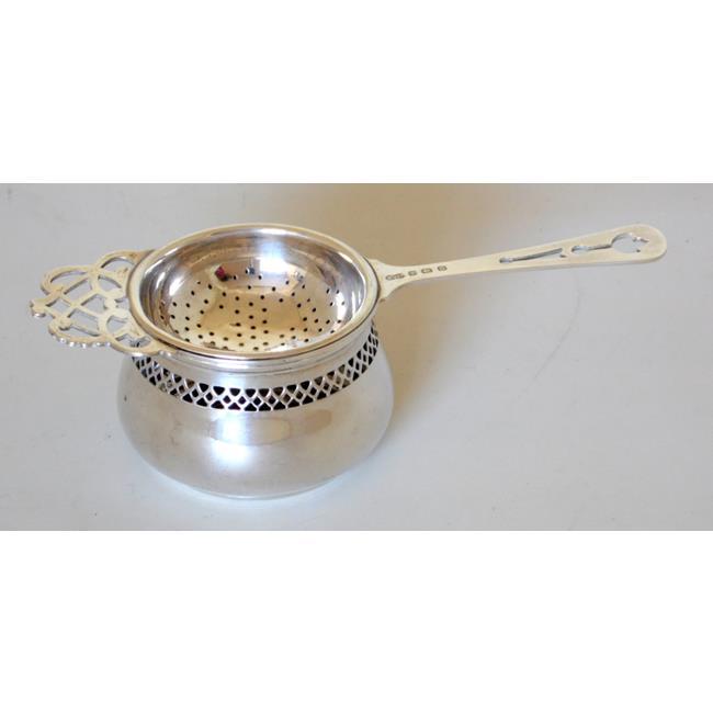 Art Deco Sterling Silver Tea Strainer/Bowl