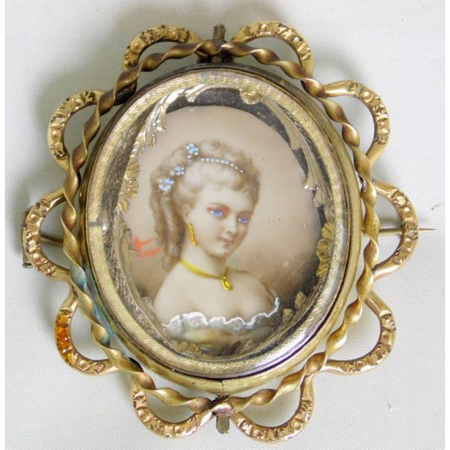 Victorian Gold Mourning Memento Pendant Brooch