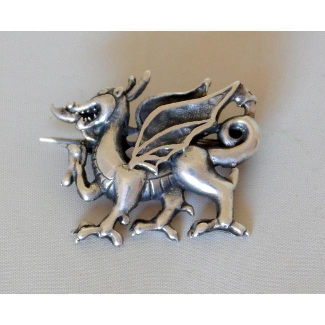 Sterling Silver Welsh Dragon Brooch