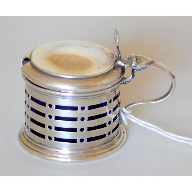 Sterling Silver Pierced Mustard Pot  1925