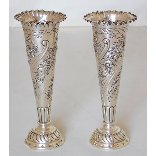 William Comyns Victorian Sterling Silver Bud Vases