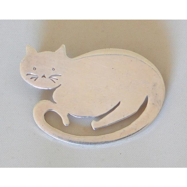 Sterling Silver Cat Brooch by Ronald Fairweather