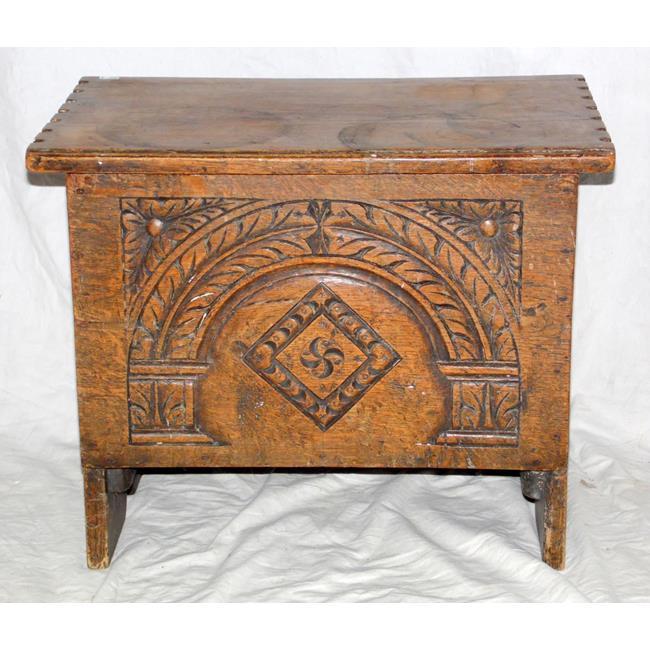 Victorian Carved Oak Stool/Storage Box.19thc.