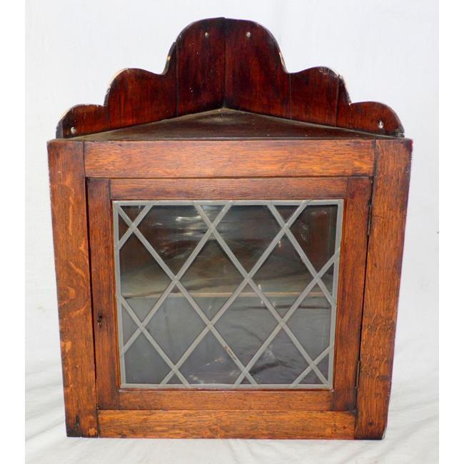 Antique Oak Small Glazed Corner Display Cabinet