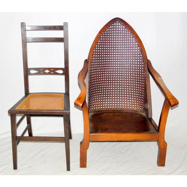 1920s Gothic Mahogany Bergere Arm Chair