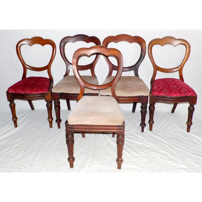 Victorian Harlequin Set of 5 Cloud Back Chairs