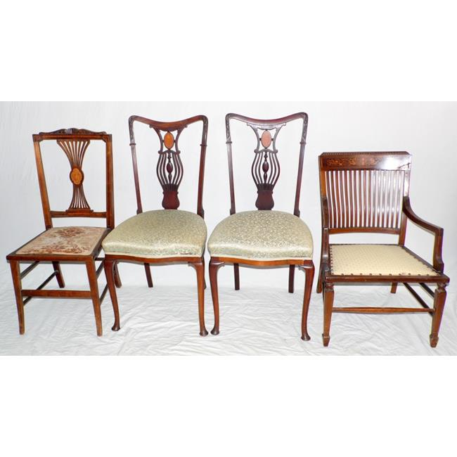 Good Antique Collection of Inlaid Mahogany Chairs