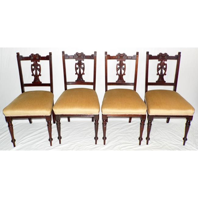A Set of 4 Edwardian Dining Chairs. Early 1900s