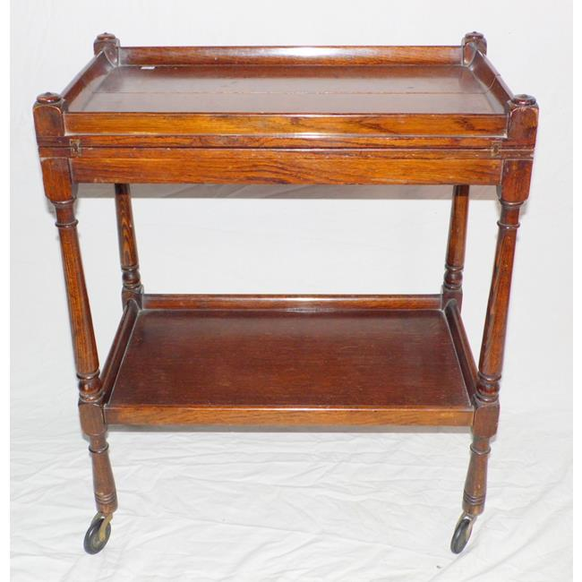 Edwardian Oak Serving Tea Trolly. Early 1900s