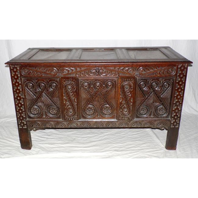 Antique Carved Oak Coffer. Late 17th Century
