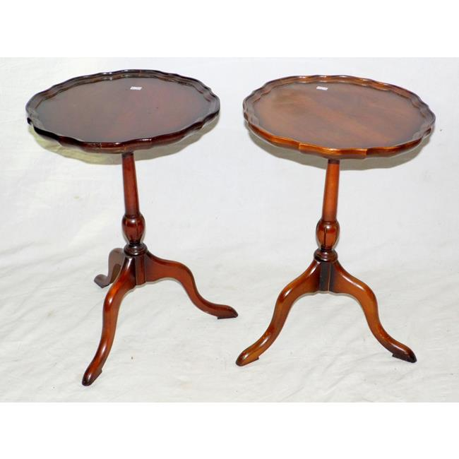 A Pair of Vintage Mahogany Pie Crust Side Tables