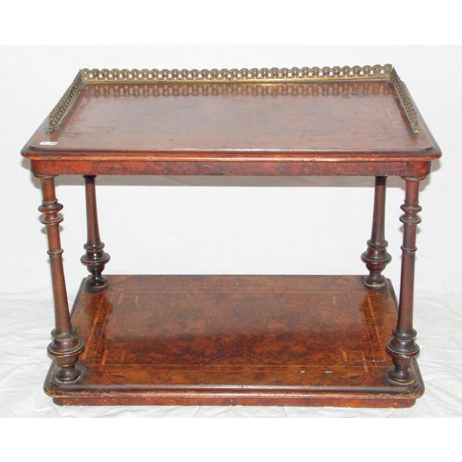 Victorian Inlaid Burr Walnut 2 Tier Whatnot Stand