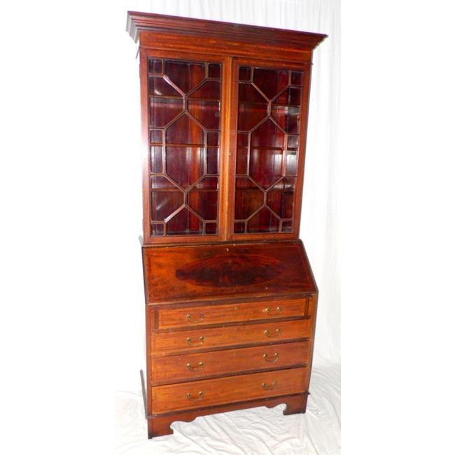 An Edwardian Inlaid Mahogany Bureau Bookcase.