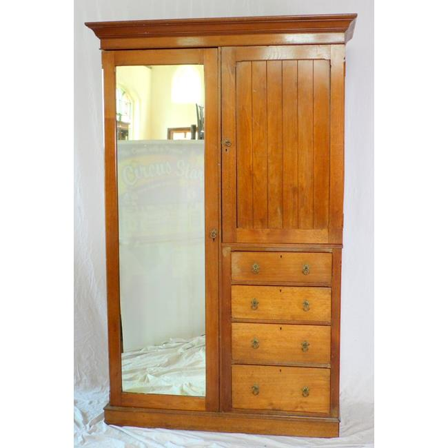 Antique Vctorian Oak Compactum Wardrobe. 19thc