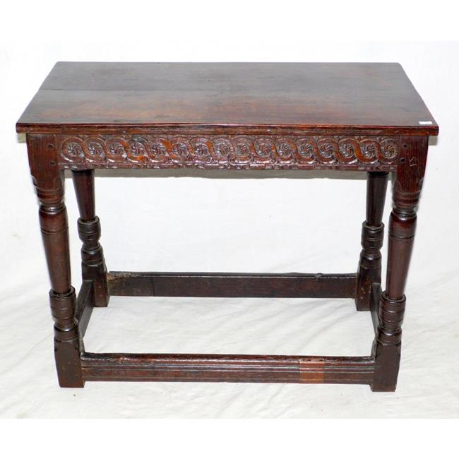 17th Century Carved Oak Side Table. Late 1600s