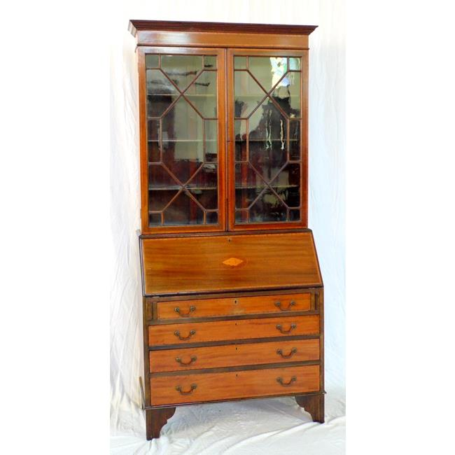 Edwardian Inlaid Bureau Bookcase. Early 1900's