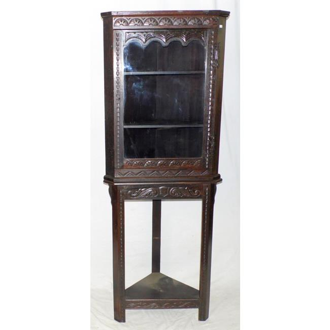 Victorian Carved Oak Corner Display Cabinet