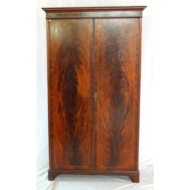 Edwardian String Inlaid Flame Mahogany Single Wardrobe. Early 1900s.
